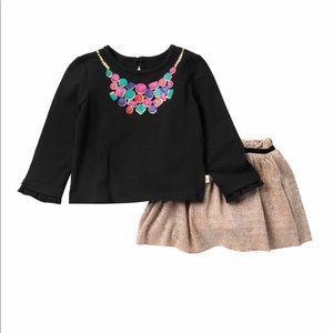 Kate Spade Metallic Print Skirt & Jeweled Top set
